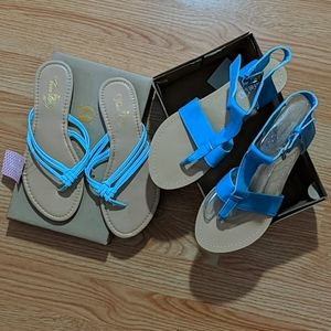 NWT blue flat sandal and flip flop